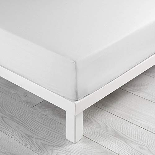 Douceur d'Intérieur, Lenzuolo ad angoli elasticizzati per letto singolo, 100% cotone, 57 fili, extra morbido, 90x190cm, Bianco (Weiß)