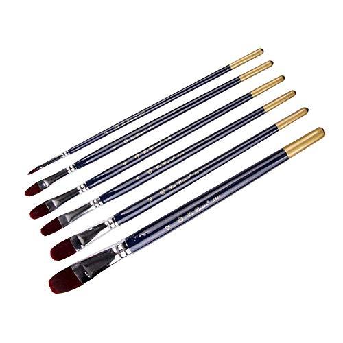 MxZas Peinture Brosses Ronde Ongles Poteau en Bois Forme Nylon Laine Aquarelle Peinture Acrylique Pinceau for Les Amateurs de Peinture (Couleur: Bleu, Taille: Free Size) Jzx-n