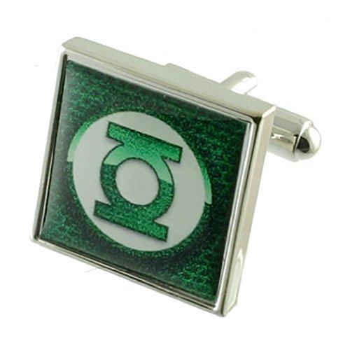 Green Lantern Design lourde solide Argent sterling 925 Boutons de manchette + cadeau personnalisé Message Boîte à boutons de manchette