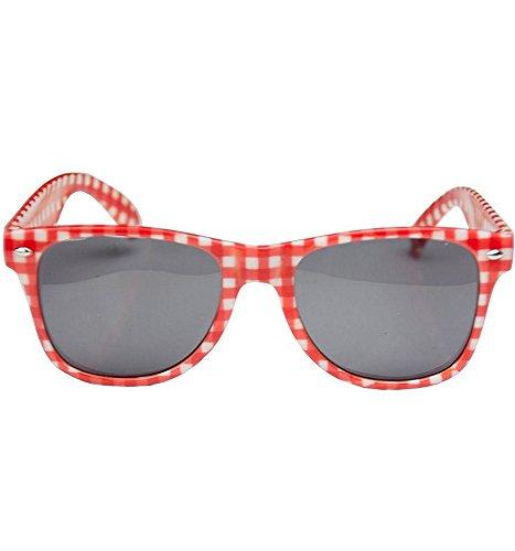 Das Kostümland Rot Weiß Karierte Brille Andreas