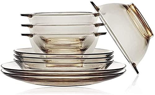 Juego de platos, Conjunto de vajillas de cristal de 9 piezas, conjunto de platos transparentes, incluidos tazones de 5 pulgadas, placas profundas de 7,5 pulgadas y placas planas de 9 pulgadas, servici