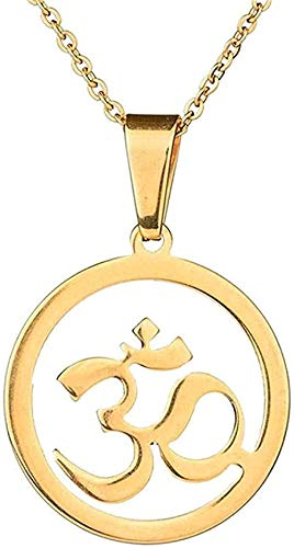 Yiffshunl Collar de Mujer, Collar Indio de Oro Antiguo, Collar con Colgante Budista hindú Ohm, Collar con Colgante de hinduismo, Yoga, India, joyería Vintage para Mujer