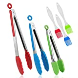 Kitchen Silicone Cooking Tongs, WOVTE 3pcs BBQ Tongs Set (7'' 9'' 12 Inch) Stainless Steel Tongs with Silicone Tips-Serving for Cooking, Salad Tossing, Barbecue, Spaghetti and Food Preparation