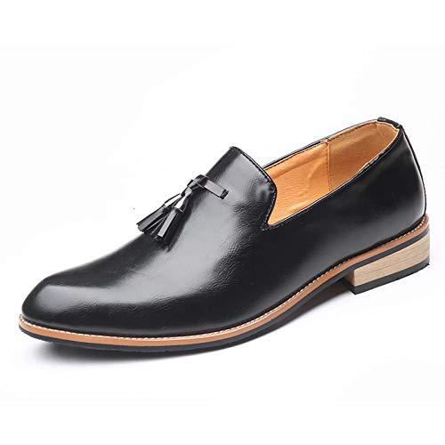 JRY Mocasines para Hombre - Zapatos de Plataforma con Punta Redonda Zapatos de Cuero Vintage de Estilo británico Zapatos de Negocios sin Cordones de Primavera para Hombres Trabajo de Negocios