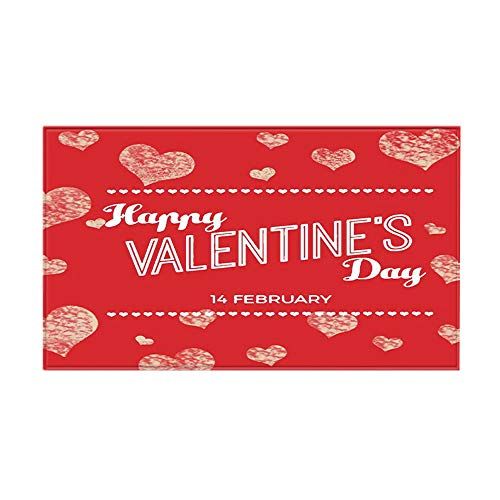 jieGorge Valentine's Day Doormat Absorbent Non-slip Rose Flower Love Mat, Home Textiles, for Easter Day (A)