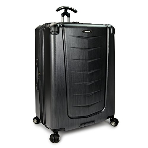 Traveler's Choice Silverwood Polycarbonate Hardside Expandable Spinner Luggage, Brushed Metal, Checked-Large 30-Inch