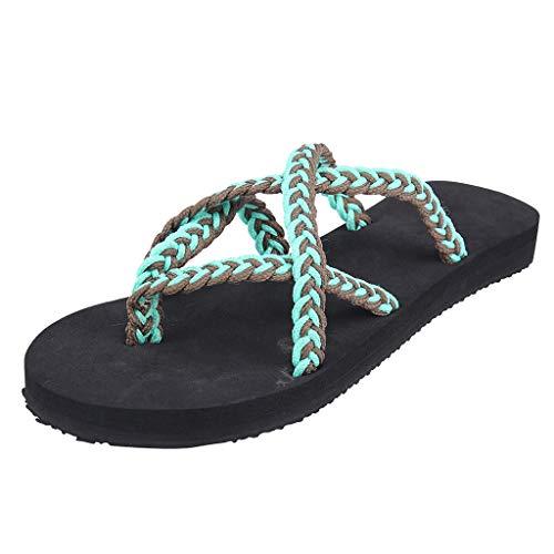 Retro Womens Fashion Weibliche Sandalen mit Seilknoten sind Zehen und flachen Flip-Flops ausgestattet Beach Roman Slippers