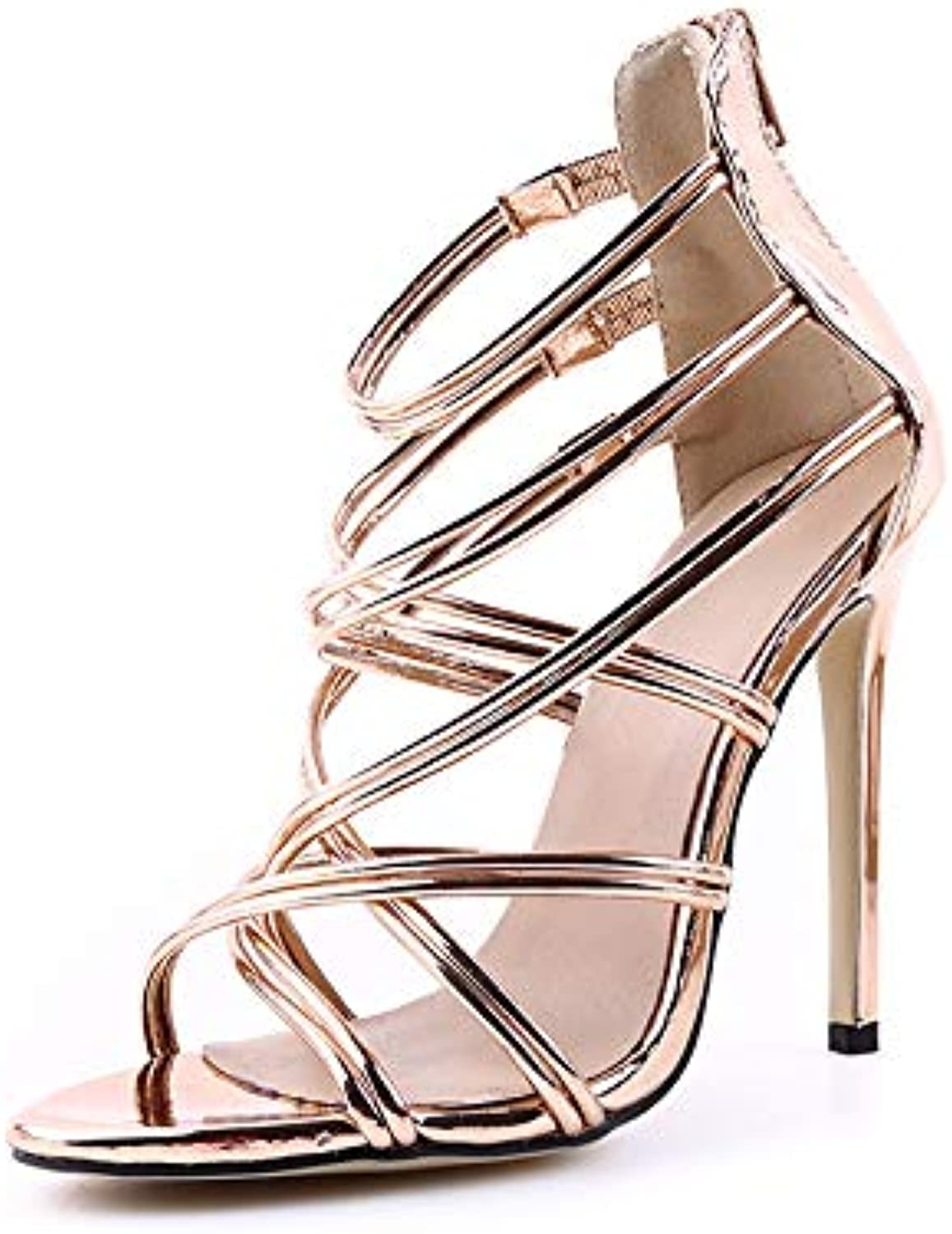 Duduxiaomaibu Women's Sexy Peep Toe Sandals - Patent Leather Cross Strap Solid color - Stiletto High Heels shoes with Zipper
