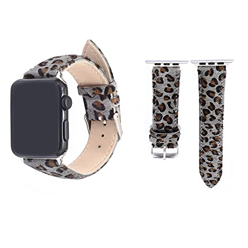XFBH Correa de piel de caballo genuina para Apple Watch de piel con estampado de leopardo, correa de moda (tamaño: 42 mm a 44 mm, color: gris)