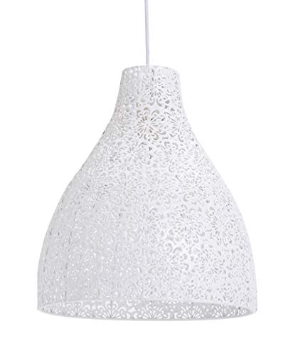 LUSSIOL Luminaire Zephir,suspension métal, 40 W, blanc, ø 28 x H 32 cm