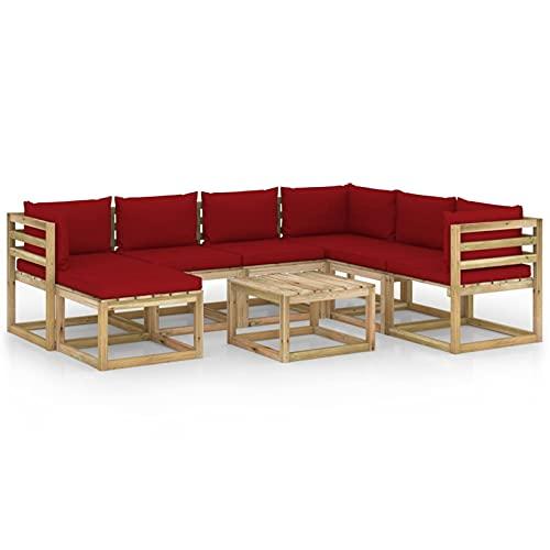 Tidyard Juego de Muebles jardín 8 pzas Cojines Madera Pino impregnado 17# | Muebles de Jardín Conjunto de Jardín Muebles Terraza Exterior Conjuntos Sofa Palets Exterior
