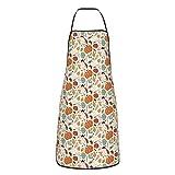 Delantal de calabaza para mujeres y hombres resistente al agua con cuello ajustable extra largo lazos para cocina babero parrilla barbacoa hornear