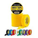 6 Rouleaux bande de chaussette - JAUNE - 1,9cm x 20m - Ruban de botte de rugby de football en PVC - Idéal pour garder les chaussettes, protège-tibias, protège-tibias