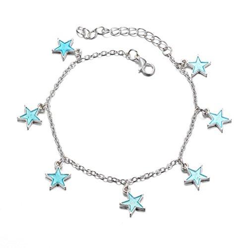 Mujeres Niñas Tobilleras Verano Playa Resplandor Tobilleras Azul Luz de la noche Twinkle Pentagonal Estrella Borla Tobillo Cadena Accesorios para niñas Pulsera luminosa