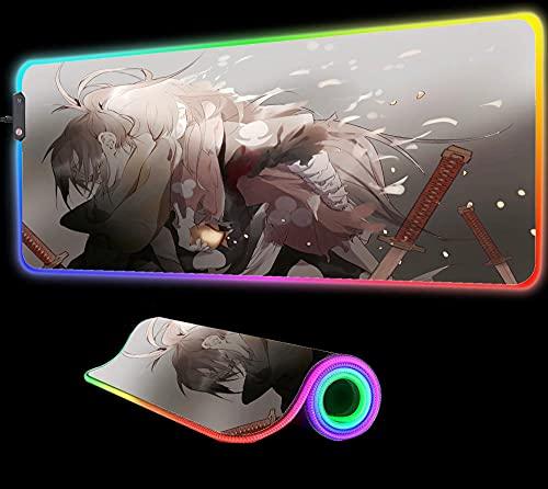 Dororo Anime Alfombrilla de Ratón para Juegos RGB Alfombrilla Grande para Ordenador XXL Alfombra Alfombrilla Grande Alfombrilla de Escritorio para Pc Retroiluminación Led 24 Pulgadas X 12 Pulgadas