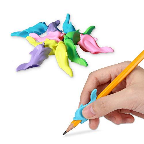 kwmobile Impugnature Ergonomiche per Penne Matite - 10x Correttori in TPE per Scrittura Mano Destra - Set Pencil Grip Destrorsi - Delfino in Diversi Colori