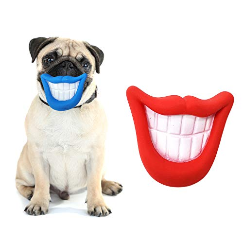 Zelica Smiling Mouth Squeaky Chew Dog Toy   Funny Novelty Chew Toys for Dogs   Red and Blue (2 Pack)