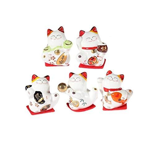 lachineuse Coffret 5 Figurines Maneki Neko - Le Chat Japonai