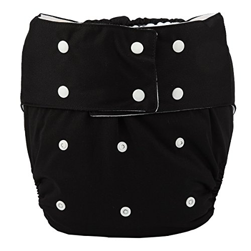 Sigzagor Teen Adult Cloth Diaper Nappy Reusable Washable for Disability Men (Black)