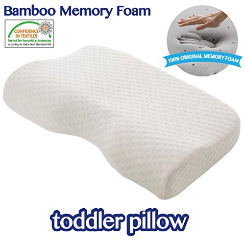 Toddler Pillow Kids Pillow Removable Washable Organic Cotton Cover Memory Foam Pillow Hypoallergenic Child Pillow Bed Pillow Children Sleeping Pillow Baby Pillow Infant Pillow Soft Pillow