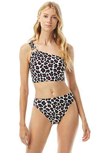 Michael Kors Small Leopard One Shoulder Top with Logo Ring Detail with Removable Soft Cups Ruby XS