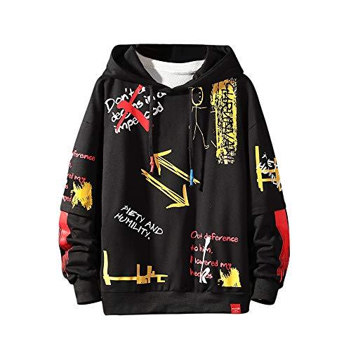 Herren Graffiti-Kapuzenpullover, bedruckt, modisch, lässig, Hip-Hop, lustiger Mantel - - Medium