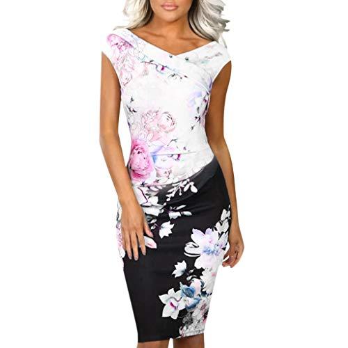 Kingko® Damen Etuikleid Knielang Business Strickerei Bodycon Bleistiftkleid Hochzeit Prom Minikleid Badeanzug lose Casual Sommerkleid (L, Weiß)