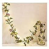 3pcs 20LED Guirnalda de Flores Rosa Artificial con Luces Metros batería luz Hada la Guirnalda para decoración [batería no incluida (Size : 10m)