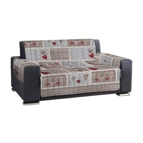 PENSIERI DELICATI Sofaüberwurf Sofaüberwurf Sofaüberwurf mit Herzen, Shabby Chic Style Romantik 2 Sitze rot