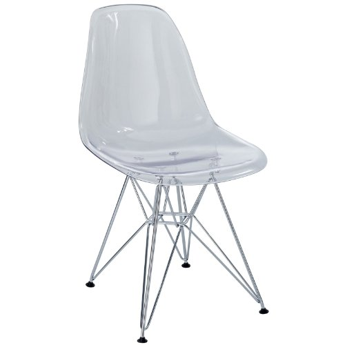 Modway Paris Mid-Century Modern Molded Plastic Dining Chair with Steel Metal Base in Clear, One