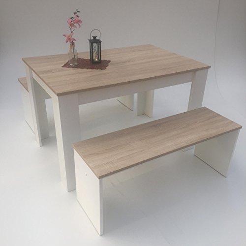 Möbel SD Esstisch Gruppe Sonoma Eiche hell Sägerau -Weiß 3teilig Tisch 110x70 +2 Bänke