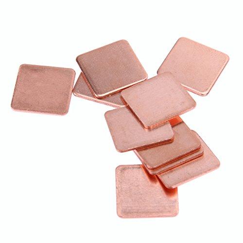 Demiawaking 10 Stück 20mmx20mm 0,3mm bis 1.5mm Kühlkörper Kupfer Shim Wärmeleitpads für Laptop IC Chipsatz GPU CPU (1.2Dicke)