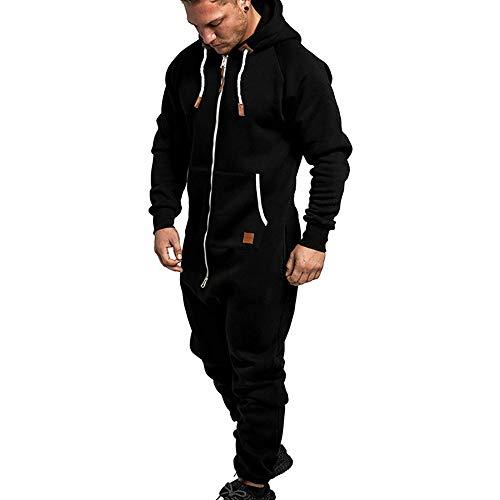Vertvie Herren Overall Jumpsuit Onesie Trainingsanzug Einteiler Jogginganzug Bedruckter Sportanzug Mit Kapuze (XL, A-Schwarz)