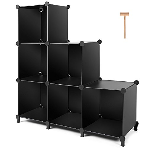 TomCare Cube Storage 6-Cube Closet Organizer Storage Shelves Cubes Organizer DIY Plastic Closet Cabinet Modular Book Shelf Organizing Storage Shelving for Bedroom Living Room...
