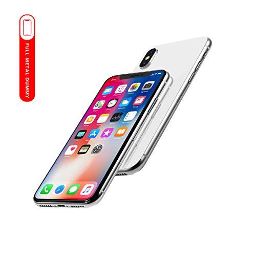 Perusha Metallic Dummy Handy Modell Display Nicht funktionierende Gefälschte Replik Telefon Spielzeug Handy für Phone (X Silber Menü-Bildschirm)