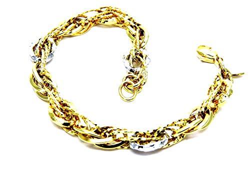 Bracciale Oro Giallo e Bianco 18kt (750) Fantasia Lucido Bicolore Donna Ragazza Cm 18,50