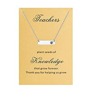 Bestill Jewelry Gifts for Women Teacher's Day Bar Necklace Stainless Steel 18 inches with Thank You Card Appreciation Gifts