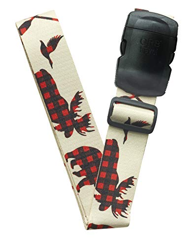 ORB Travel Premium Designer Luggage Strap LS246-Canada Plaid-Beige/Red/Black