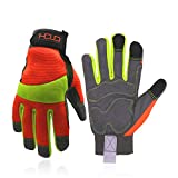 Guantes antivibración, guantes reflectantes de seguridad de alta visión, pantalla táctil, parte trasera flexible de elastano anti vibrantes guantes (pequeños, de alta visibilidad, amarillo y naranja)