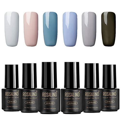 ROSALIND Esmalte en gel para uñas de larga duración Soak Off UV LED Semipermanente con barniz, manicura, pedicura, set de 6 botellas, 7 ml
