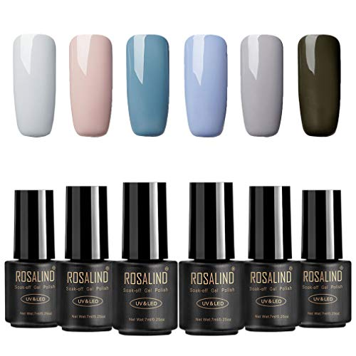 ROSALIND Esmalte en gel para uñas de larga duración Soak Off UV LED Semipermanente con barniz, manicura, pedicura, set de 6 botellas, 7 ml