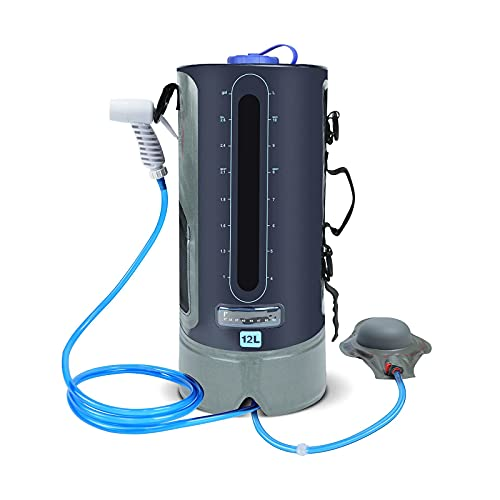 YQG RROWER Borsa per Doccia da Campeggio, Borsa per Acqua Sportiva da Esterno Portatile Impermeabile da 12 l/3,17 galloni con Pompa a Pedale, soffione Doccia da Campo e misuratore di Temperatura