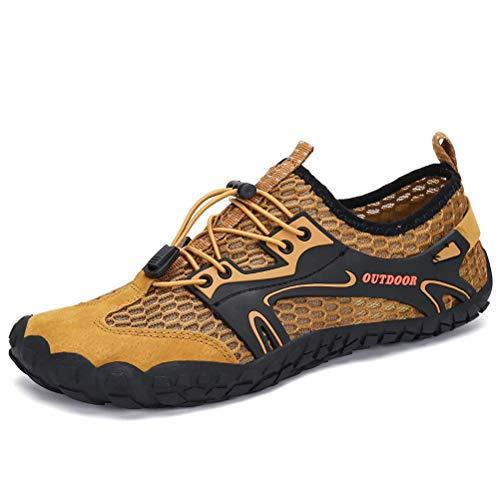 Dannto Herren Damen Wanderschuhe Trekkingschuhe Anti-Rutsch Super Atmung Wanderstiefel Sportlich Bequem Sommer LeichtOutdoor Fitnessschuhe Hiking Sneaker Barfußschuhe(Braun,44