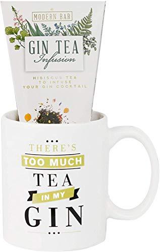 Modernos Alimentos Gourmet, Taza de Infusión de Té Gin, Taza de Regalo de 1.5 Gramos de Frambuesa e Hibiscus Té Negro y Taza de Cerámica