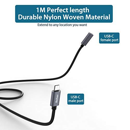 Belkertech USB C-Verlängerungskabel Typ C-Stecker auf Buchse Thunderbolt 3-Verlängerungskabel USB 3.1 (10 Gbps) Laden/Sync / 4K-Video/Audio-Verlängerungskabel für MacBook Pro 2016/2017 / 1M