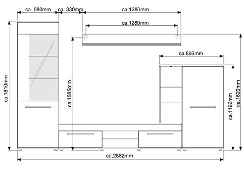 Wohnwand Wohnzimmerschrank Schrankwand TV-Element Anbauwand CANNES in Eiche Sonoma – 288 cm breit / 181 cm hoch / 36 cm tief Made in Germany - 3