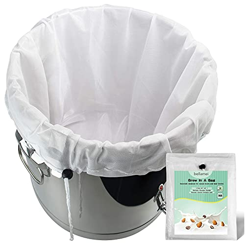 Bellamei Brew Bags Reusable 2 Pack 250 Micron Fine Mesh Bag for Fruit Cider Apple Grape Wine Press Drawstring Straining Brew in a Bag (2 pack-22'×26')