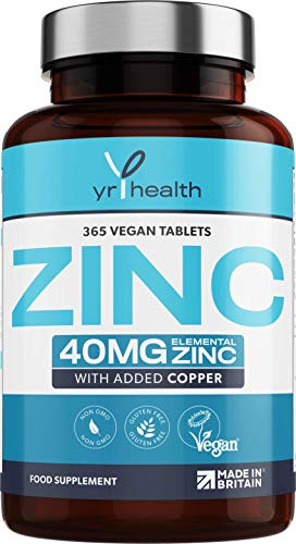 Zinc Tablets 40mg Plus Copper - 365 High Strength Zinc Gluconate Vegan Tablets, 12 Month's Supply for Maintenance of Normal Immune System - Easy to Swallow - Made in The UK by YrHealth