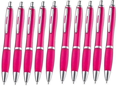 Libetui 10-er Pack Kugelschreiber rutschfeste Griffzone Großraumine Druckkugelschreiber Kuli blauschreibend Gehäuse Farbe Pink