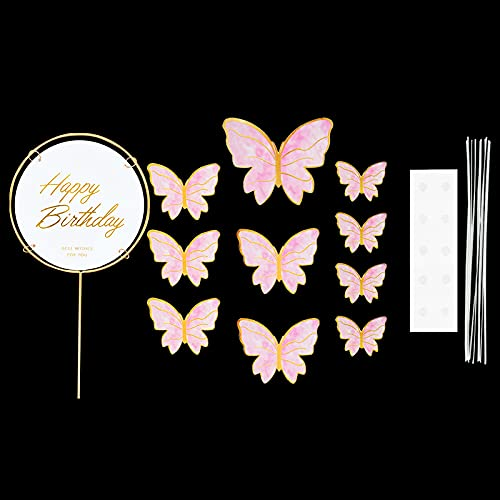 JinEamy-uk 1Set Butterfly Paper Cake Topper Happy Birthday Cupcake Toppers For Baby Shower Wedding Party Girl Birthday Cake Decoration ( Color : A03 1set )